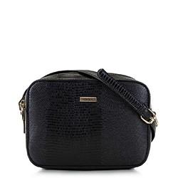 Женская сумка-коробочка через плечо., черно-золотой, 29-4Y-006-01, Фотография 1