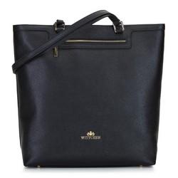 Сумка-шоппер из фактурной кожи, черно-золотой, 92-4E-600-11, Фотография 1