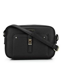 Женская сумка через плечо с передним карманом, черно-золотой, 29-4Y-001-1G, Фотография 1