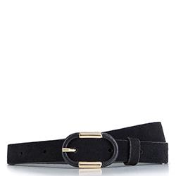 Женский кожаный ремень с овальной пряжкой, черно-золотой, 92-8D-305-1Z-M, Фотография 1