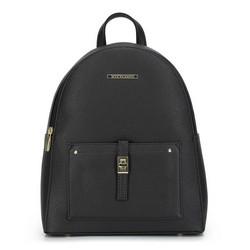 Женский рюкзак с передним карманом, черно-золотой, 29-4Y-003-1G, Фотография 1