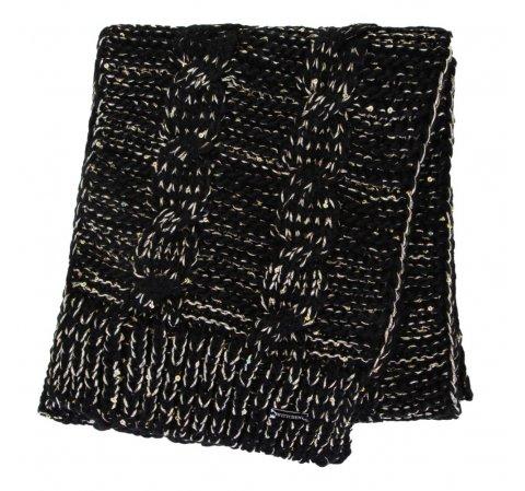 Женский шарф с металлической нитью, черно-золотой, 91-7F-200-1X, Фотография 1