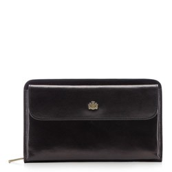 Кожаная барсетка с карманом, черный, 10-3-376-1, Фотография 1