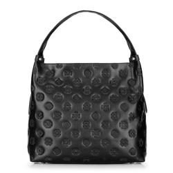 Кожаная сумка-шоппер с монограммами и молниями, черный, 92-4E-697-1, Фотография 1