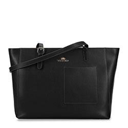 Большая кожаная сумка-шоппер, черный, 93-4E-615-1, Фотография 1