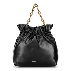 Большая сумка на цепочке черепаховой расцветки, черный, 92-4Y-608-1, Фотография 1