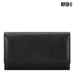 Женский кожаный кошелек горизонтальный, черный, 21-1-235-1L, Фотография 1