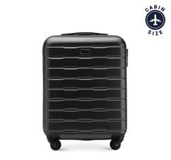 Рифленый чемодан ручная кладь из ABS - пластика, черный, 56-3A-381-10, Фотография 1