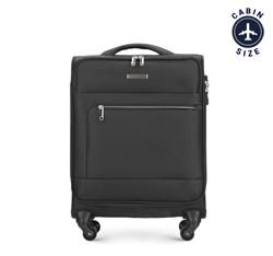 Тканевой одноцветный чемодан ручная кладь, черный, 56-3S-621-10, Фотография 1