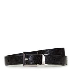 Двусторонний кожаный ремень женский, черный, 91-8D-305-1-XL, Фотография 1