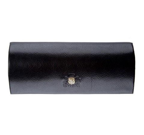 Закругленный кожаный футляр для очков, черный, 22-2-164-1, Фотография 1