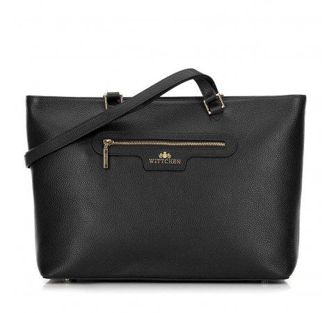 Классическая кожаная сумка-шоппер, черный, 29-4E-009-5, Фотография 1