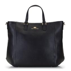 Классическая кожаная сумка-шоппер, черный, 92-4E-644-1, Фотография 1