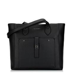 Классическая сумка-шоппер с передним карманом, черный, 29-4Y-002-1, Фотография 1