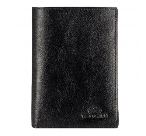 Классический кожаный мужской кошелек, черный, 21-1-119-1M, Фотография 1