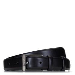 Ремень мужской классический кожаный, черный, 92-8M-369-1-11, Фотография 1