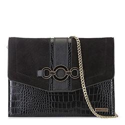 Прямоугольная сумка с крокодиловой текстурой, черный, 91-4Y-304-1, Фотография 1