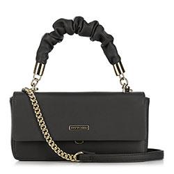Женская сумка через плечо на цепочке с рюшами на ручке, черный, 91-4Y-406-1, Фотография 1