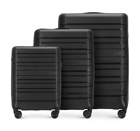 Комплект чемоданов, черный, 56-3T-75S-85, Фотография 1
