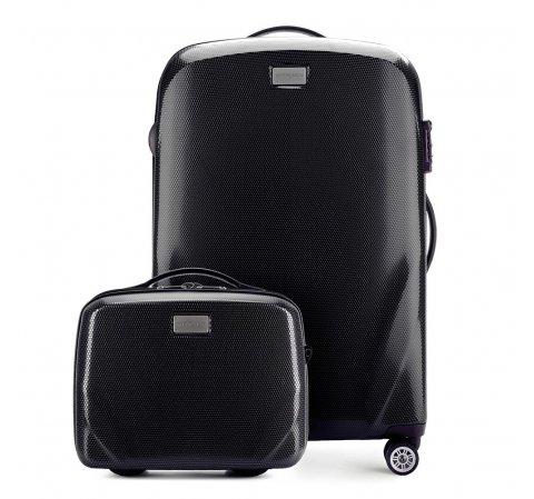Комплект (Средний чемодан + косметичка), черный, 56-3P-572_4-90, Фотография 1