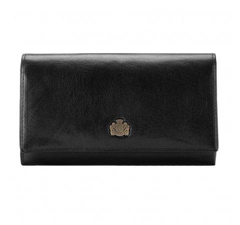 Женский кожаный кошелек с карманом на молнии, черный, 10-1-036-L1, Фотография 1