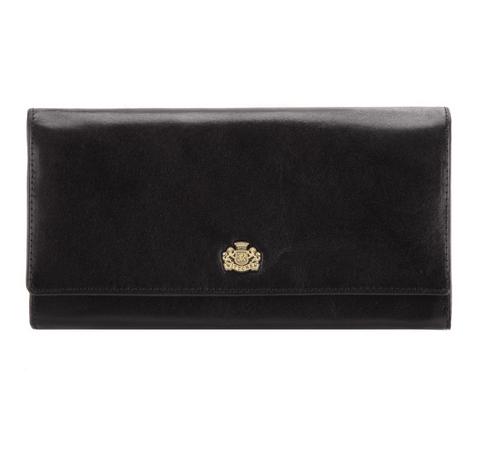 Женский кожаный кошелек с большим гербом, черный, 10-1-052-N, Фотография 1