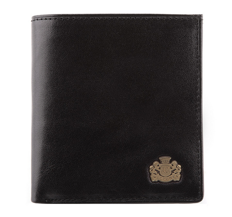 Женский кожаный кошелек с гербом на застежке, черный, 10-1-065-3, Фотография 1