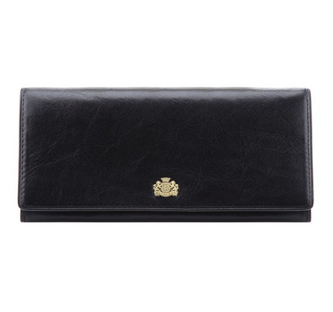 Женский кожаный кошелек с горизонтальным логотипом, черный, 10-1-333-3, Фотография 1