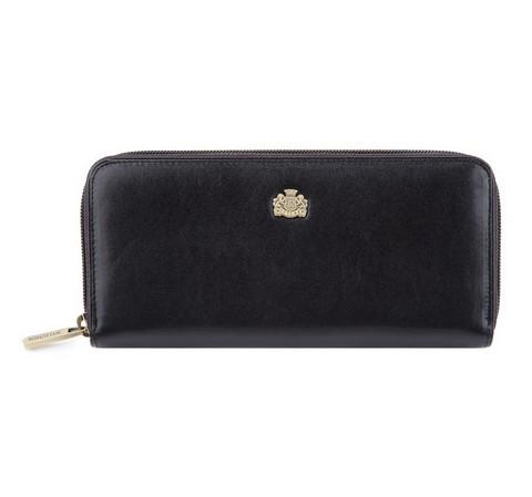 Женский кожаный кошелек с логотипом на молнии, черный, 10-1-393-1, Фотография 1