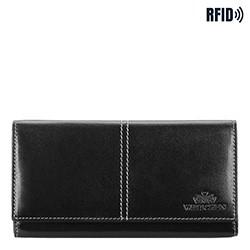 Женский кожаный кошелек RFID с декоративной строчкой, черный, 14-1-122-L1, Фотография 1