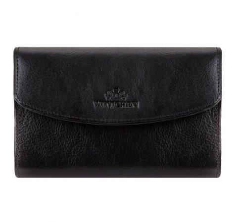 Классический средний кожаный кошелек, черный, 21-1-045-1, Фотография 1