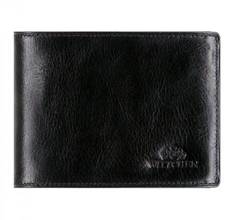 Кожаный мужской кошелек с откидной панелью, черный, 21-1-046-10, Фотография 1