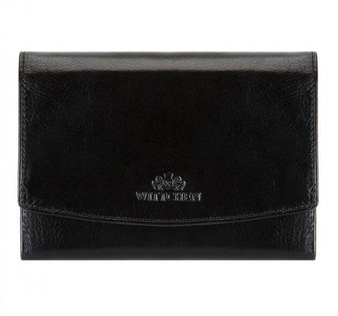 Женский кожаный кошелек среднего размера, черный, 21-1-062-10, Фотография 1