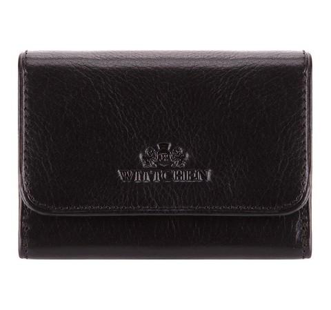 Маленький кожаный кошелек на кнопке, черный, 21-1-068-3, Фотография 1