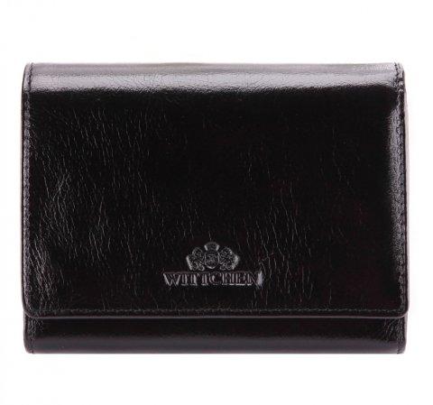 Женский кожаный кошелек среднего размера, черный, 21-1-070-10, Фотография 1