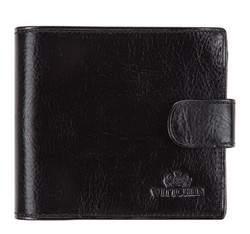 Мужской кожаный кошелек на кнопке, черный, 21-1-125-1, Фотография 1