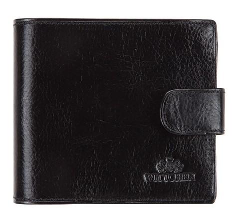 Мужской кожаный кошелек на кнопке, черный, 21-1-125-4, Фотография 1