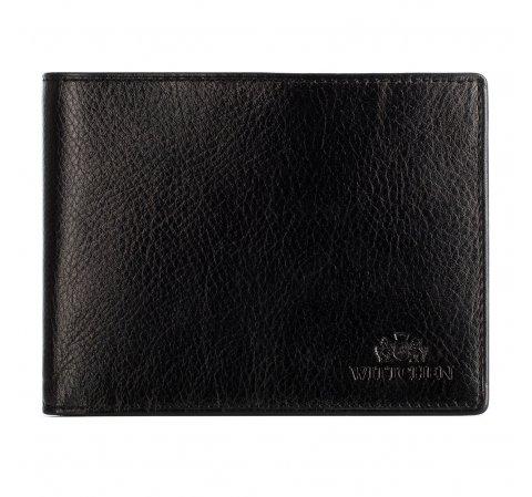 Кожаный мужской кошелек раскладывающийся, черный, 21-1-262-10L, Фотография 1