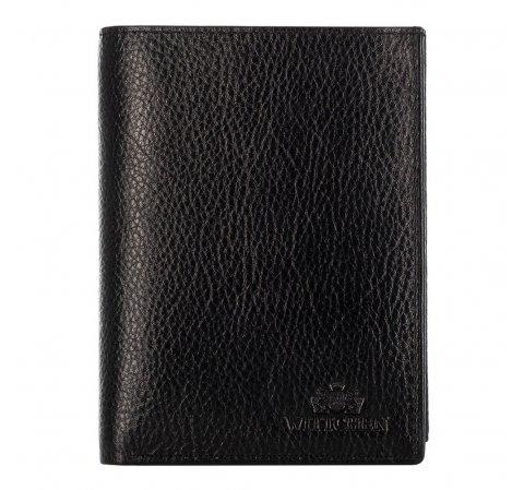 Мужской кожаный кошелек среднего размера, черный, 21-1-265-10, Фотография 1
