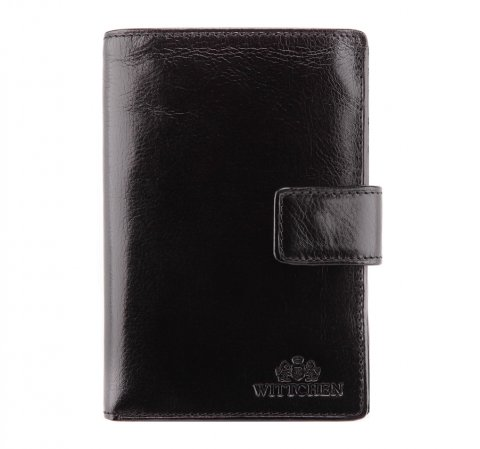Мужской кожаный кошелек среднего размера, черный, 21-1-291-10, Фотография 1