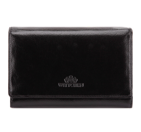 Женский стильный кожаный кошелек среднего размера, черный, 21-1-361-3, Фотография 1