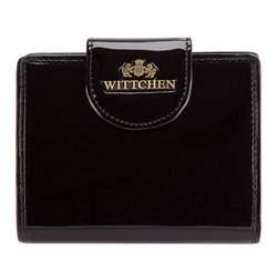 Женский кошелек из лакированной кожи с кнопкой, черный, 25-1-362-1, Фотография 1