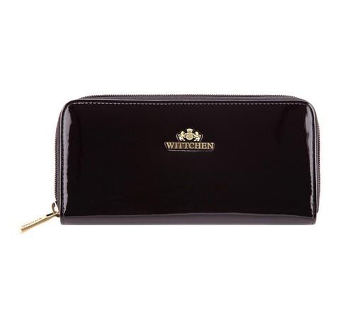 Женский лакированный кошелек на молнии, черный, 25-1-393-1, Фотография 1