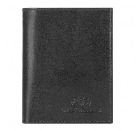 Кожаный узкий кошелек, черный, 26-1-420-5, Фотография 1