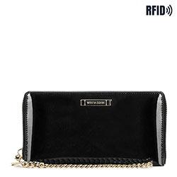 Женский кожаный лакированный кошелек на цепочке, черный, 26-1L-427-1, Фотография 1