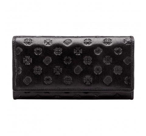 Женский кожаный кошелек с монограммой | WITTCHEN, черный, 33-1-052-1S, Фотография 1