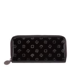 Женский лакированный кожаный кошелек с тиснением, черный, 34-1-393-1S, Фотография 1
