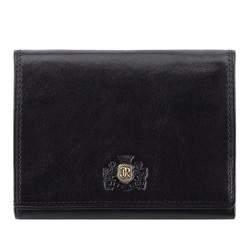 Мужской горизонтальный кожаный кошелек, черный, 39-1-071-1, Фотография 1