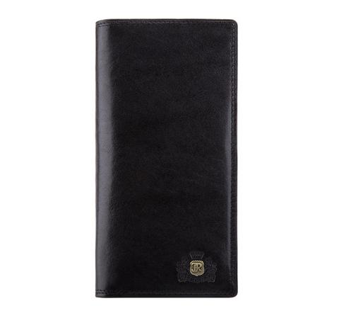 Кожаный продолговатый кошелек с гербом, черный, 39-1-170-1, Фотография 1