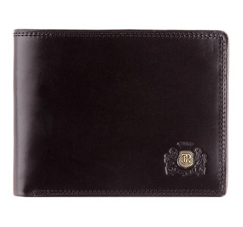 Мужской кошелек среднего размера с гербом, черный, 39-1-173-1, Фотография 1
